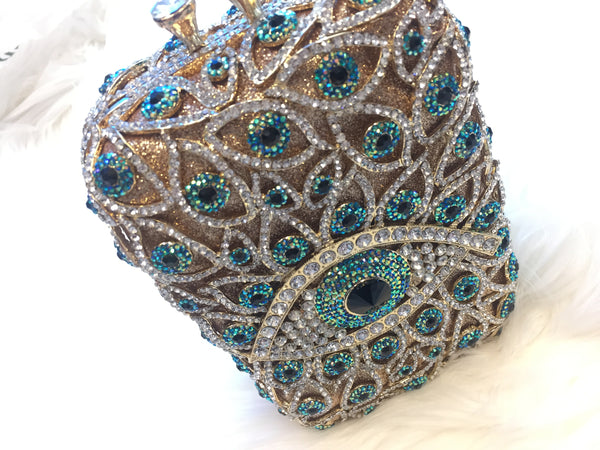 Mirina Evil Eye Handbag - Drenched in Australian Crystals - Gold with Mirina Blue