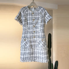 Tweed Day Dress - Short Sleeved Tweed Day Dress White