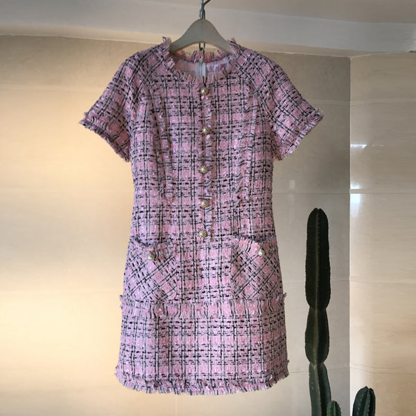 Tweed Day Dress - Short Sleeved Tweed Day Dress Pink