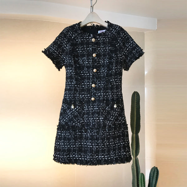 Tweed Day Dress - Short Sleeved Tweed Day Dress Black