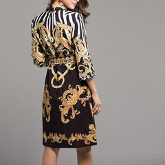 Womans Black and Gold w/ Animal Print Wrap Dress