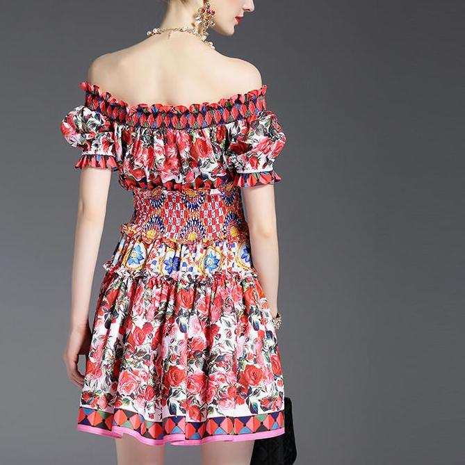Off the Shoulder Summer Mini Dress - Floral Mini Off the Shoulder Runway Dress