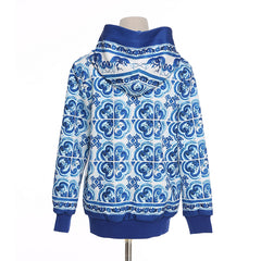 Designer Inspired Hoodie Sweatshirt - Womans Sweater - Women's Long Sleeve Retro Blue White Floral Printed Zip Hooded Sweatshirt
