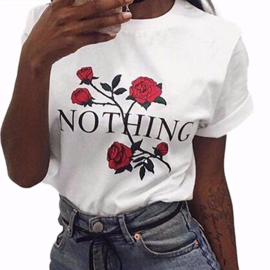 "Rose ""NOTHING"" Graphic T Shirt - Famous Graphic T Shirt - White, Black or Gray"