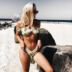 Off the Shoulder Lemons Bikini Set