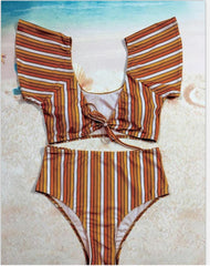 High Waisted Bikini Set - Variety of Colors - Tie Up Front
