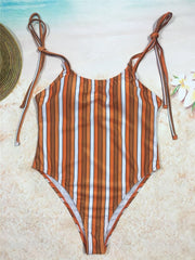 Shoulder Tie One Piece Swimwear - Many Color Options