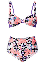 High Waisted Floral 2 Piece Bikini