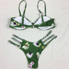 Vintage Green Bikini Set - 2 Bottom Options - High Wasted or String