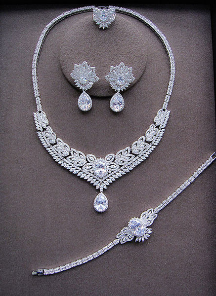 Water Drop Platinum Plated Jewelry Set - Tennis Necklace, Bracelet, Earrings, Rings