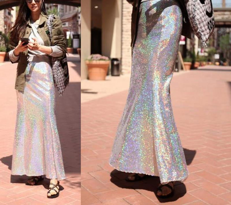 Hologram Maxi Skirt - Mermaid Maxi Skirt - Sequin Maxi Skirt