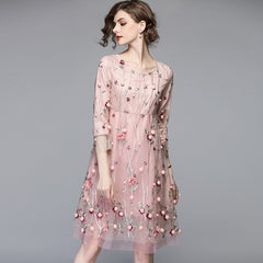 Mesh Pink Floral Embroidered Dress Woman Dress - Pink or Black