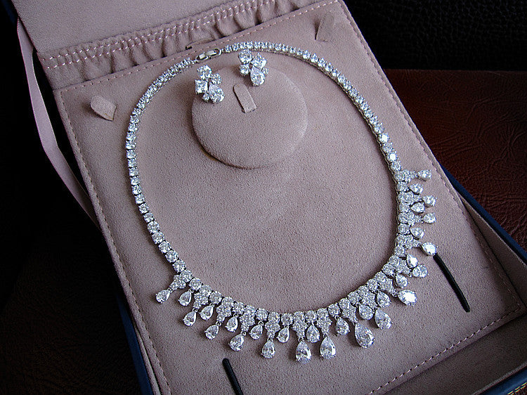Jewelry Set - Tennis Necklace w/ Matching Earrings - Platinum Plated-  Swarovski Cut Stones