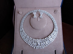 Platinum Plated w/ Clear Cut Crystals - Necklace and Earring Set