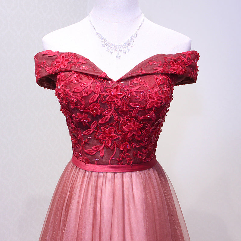 b98c12409d1 Formal Wine Red Lace Evening Dress - Womans Sweetheart Boat Neck Floor-length  Lace Party