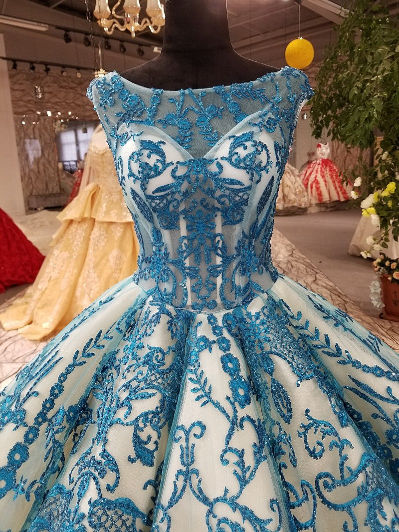 1c50be2da368e 2018 New High-end Evening Dress - Luxury Vintage Long Sleeved Blue Formal  Gown