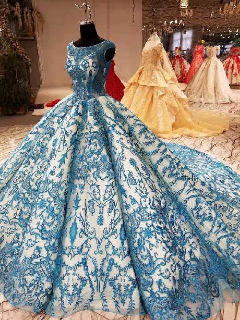 2018 New High-end Evening Dress - Luxury Vintage Long Sleeved Blue Formal Gown