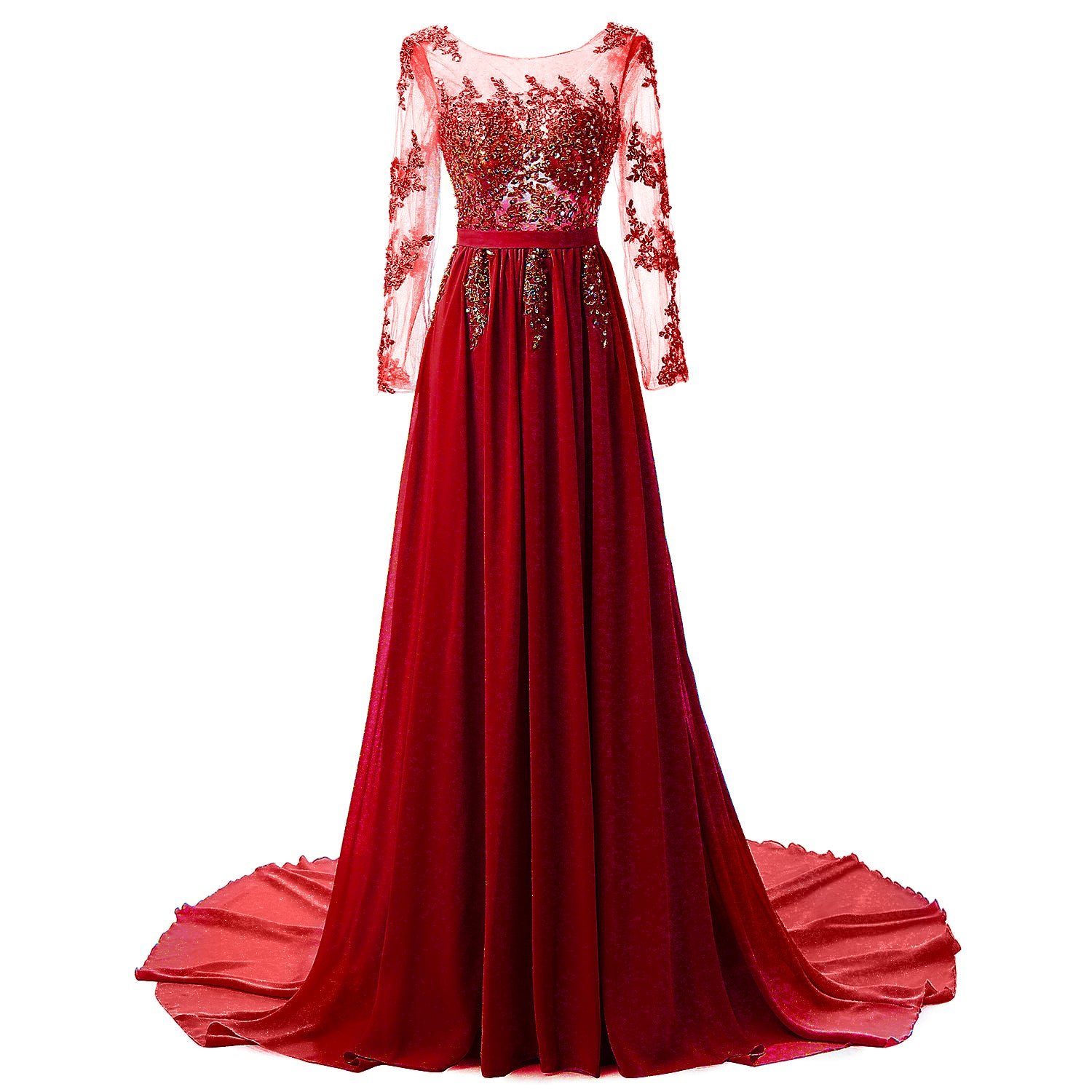 Long Sleeve Lace and Chiffon Womans Gown - Beautiful Chiffon Gown - Long Sleeve Lace Gown