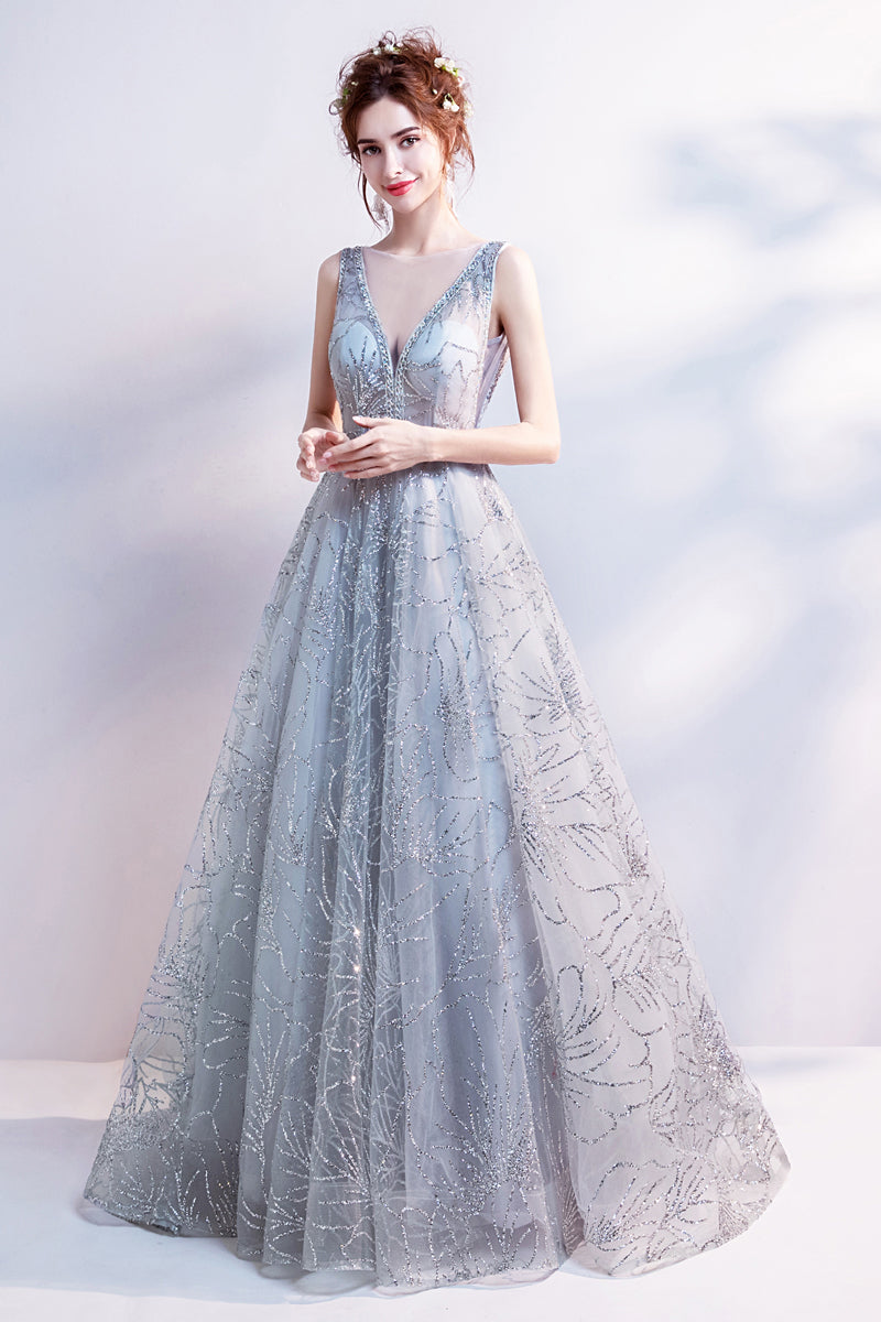 Fairy Tale Sequin Silver Gown - Pale Gray Sequin Sparkly Gown ...