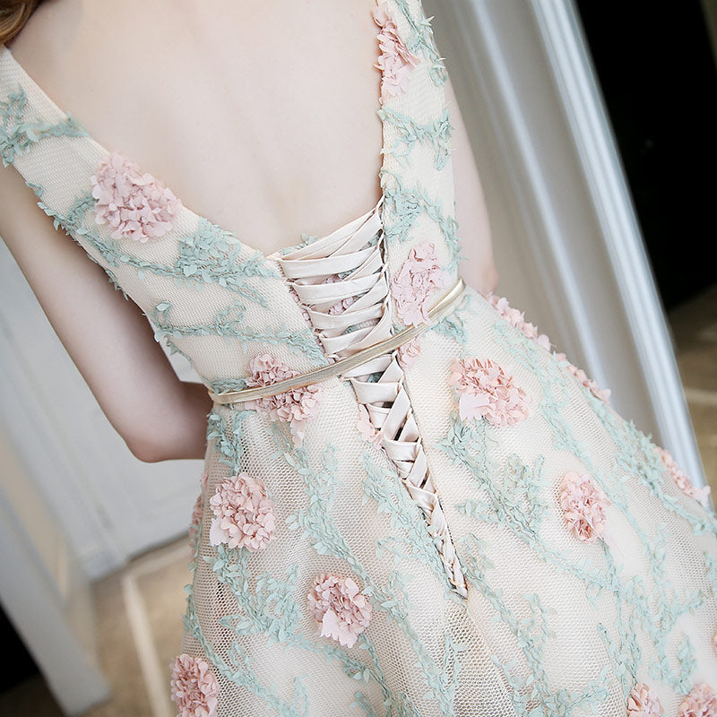 Couture Lace Flower Delicate Cocktail Dress - White with Mint Green and Soft Pink Flowers - Gown