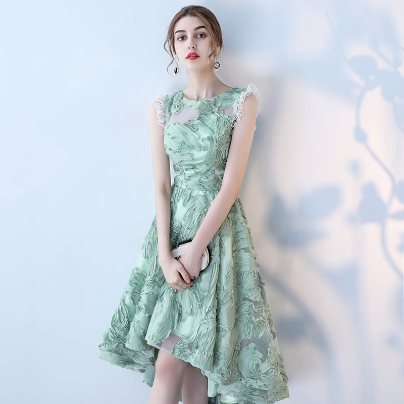 Mint Green Couture Short Gown - Ruffled Shoulders - Up to size 14 - High Low Front Cocktail Gown