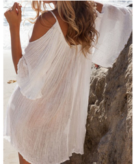 Chiffon Beach Mini Dress - White