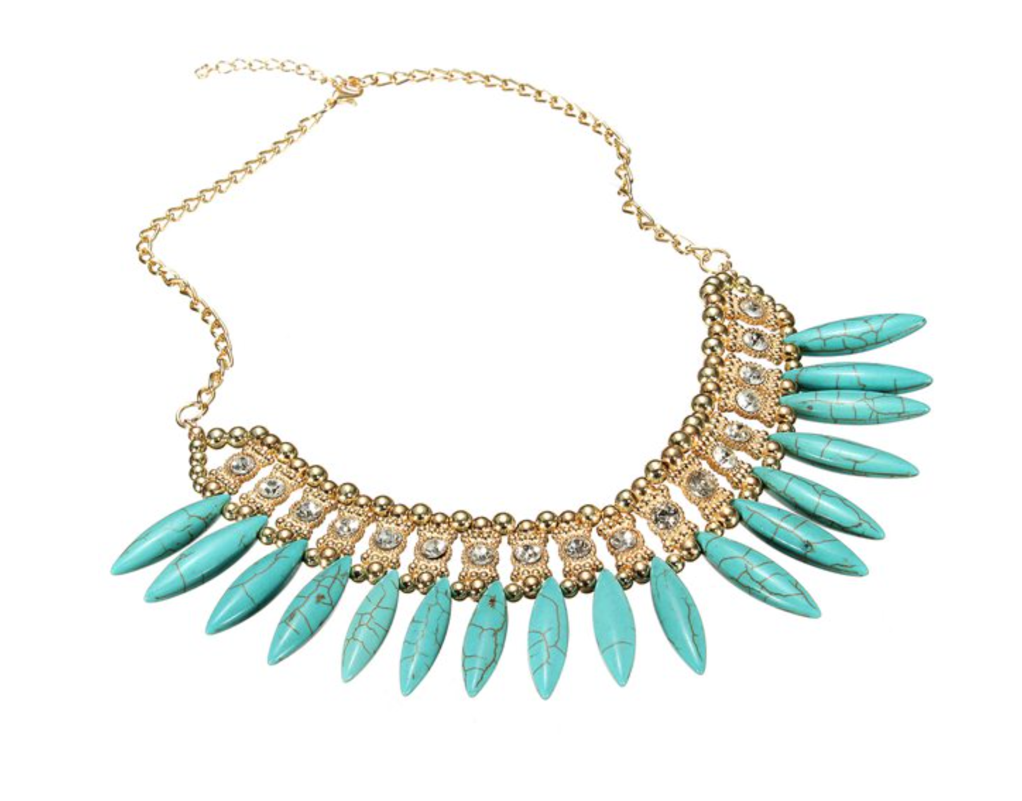 Necklace - Mirina Blue - Linda Boho w/ Gold and Crystals