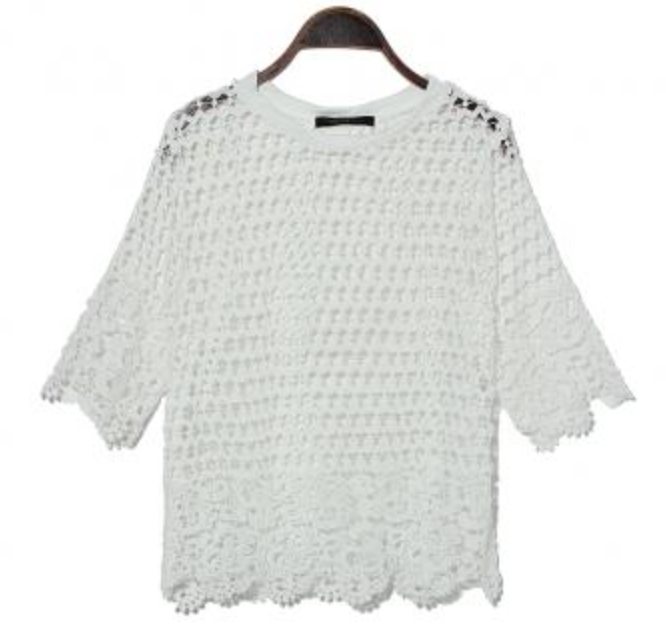 Crochet and Lace Top - White
