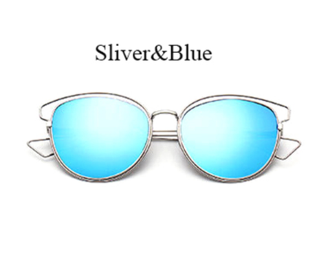Mirrored Metal - Silver w/ Blue Lens - EO20 - SILVERBLUE
