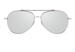 Luxury Aviators - Flat Bar - Silver w/ Silver Lens - X117 - gray silver