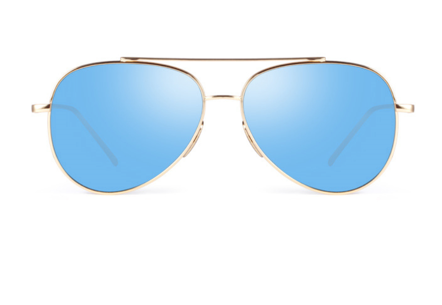 Luxury Aviators - Premium Flat Bar - Gold w/ Ice Blue Lens - X117 - GOLDICEBLUE