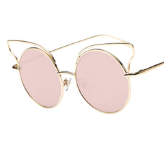 Winged Tip - Gold w/ Pink Lens - D021- GOLDPINK