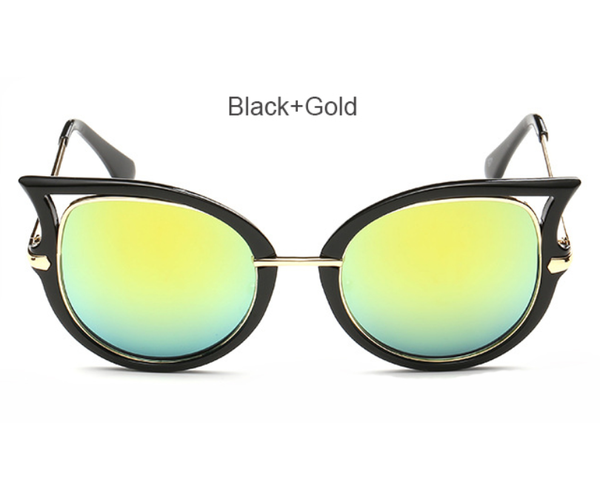 Cat Eye - Black w/ Iced Gold Lens - D057 - BLACKGOLD