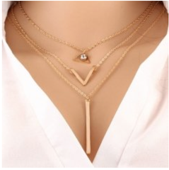 Necklace - 1 Piece - Stacked - V Shape