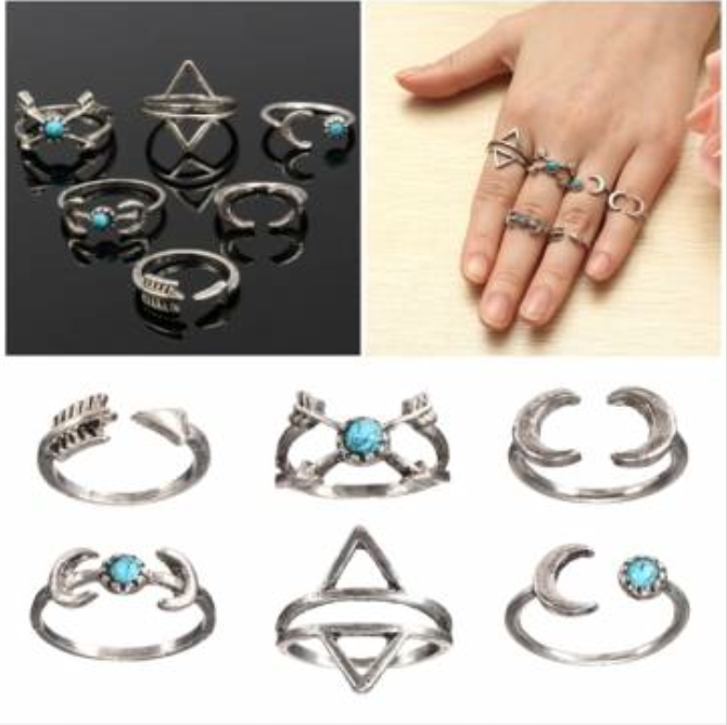 Bohemian Ring Set - 6 Pieces - Turquoise - 1016172