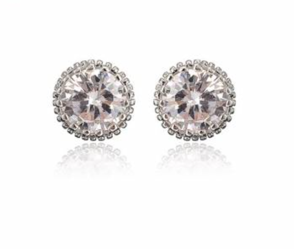 Queen Crystal Ear Studs - Silver Finish