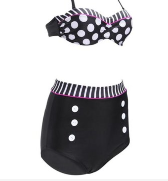 Vintage Style High Waisted Polka Dot Bikini - Includes Full Set