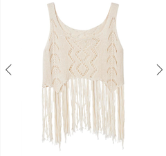 Knitted Tank Top - Tassels - Black, White or Beige - One Size