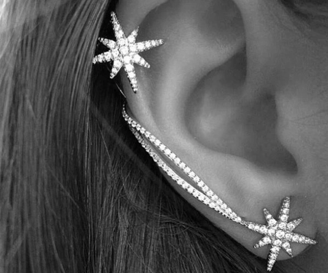 Star Earrings with 1 Sided Ear Cuff / Clip - Silver Finish