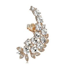 Crystal Leaf Ear Cuff - 1 Piece - Luxury Collection - Gold