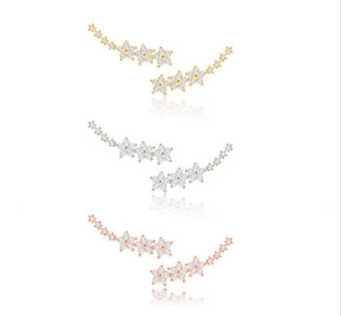 Sterling Silver Star Ear Cuff - 925 Sterling Silver - Gold, Rose Gold, Silver