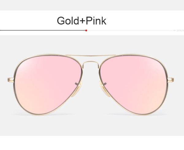 Luxury Aviators - Premium Flat Bar - Gold w/ Pink Lens - X117 - GOLDPINK
