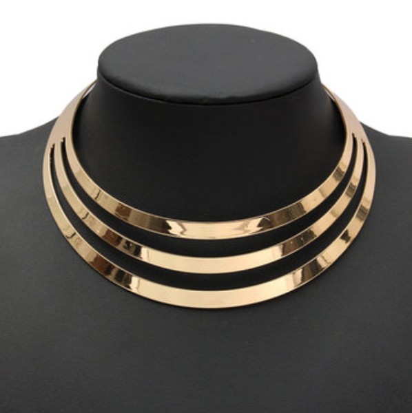 Layered Metal Choker - Gold or Silver