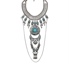 Willis Silver & Mirina Blue Long Chain Necklace