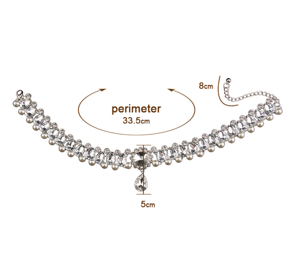 Pearl and Crystal Choker - Silver Finish