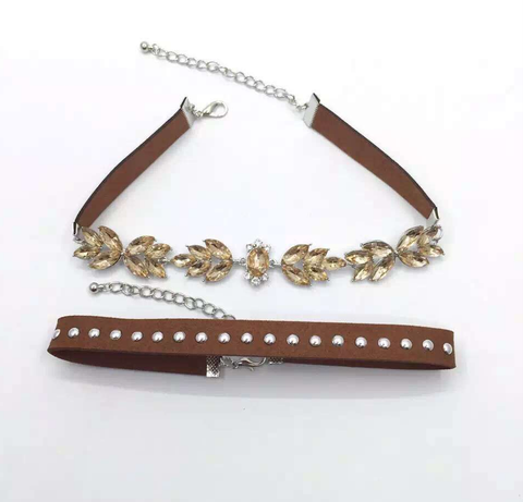 Choker Set - Tan Crystal & Tan Studded - 2 Pieces