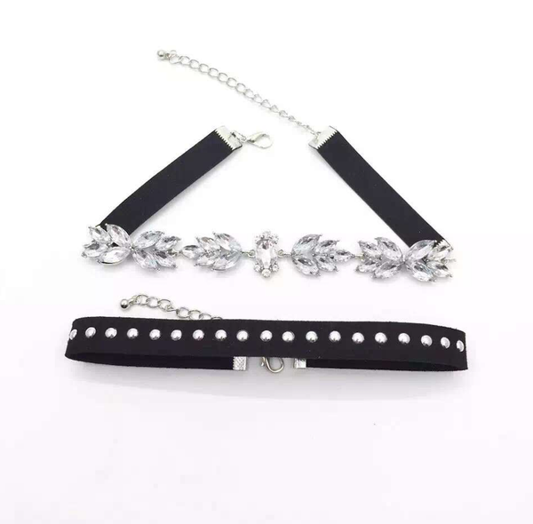 Choker Set - Crystal & Black Studded - 2 Pieces