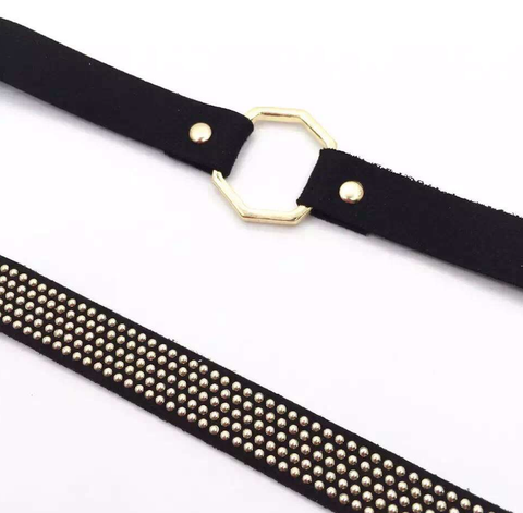 Choker Set - Gold & Black Studded - 2 Pieces