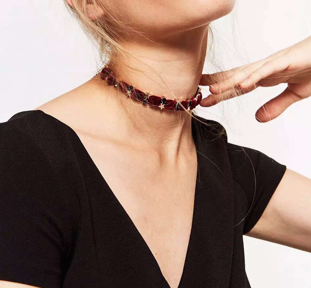 Choker Set - Velvet Stars - Maroon or Blue - 2 Pieces - Delicate