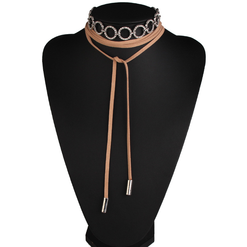 Choker Set - Wrap Choker and Crystal Rings Choker - Black or Tan